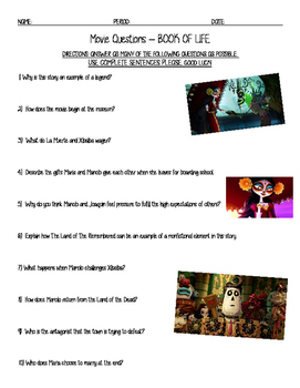 Book of Life Viewing Guide and Discussion Questions WITH KEY