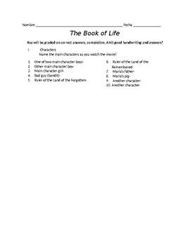 Book of Life Worksheet