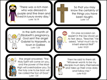 Book of Luke Bible Verse Printable Flashcards. Bible Study and Curriculum.