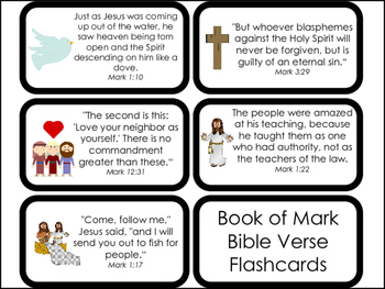 Book of Mark Bible Verse Printable Flashcards. Bible Study and Curriculum.