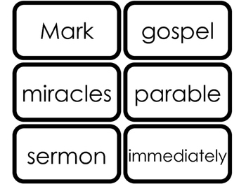 Book of Mark Vocabulary Words Printable Flashcards. Bible Study and Curriculum.