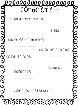 Book of Memories in Spanish for Second Grade