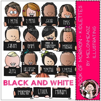 Book of Mormon clip art - Kidlettes - LDS - BLACK AND WHITE - by Melonheadz