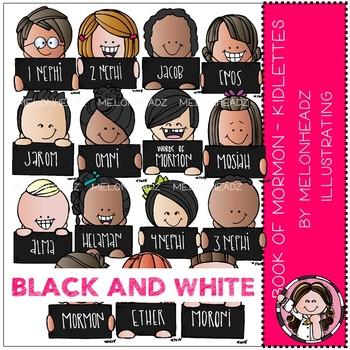 Book of Mormon clip art - Kidlettes - LDS - BLACK AND WHITE - Melonheadz Clipart