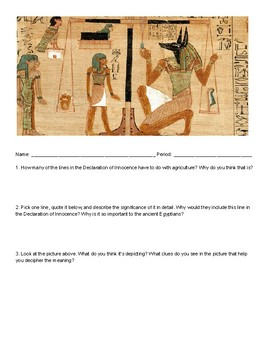 Book of the Dead - Primary Source Reading Comprehension Worksheet