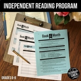 """Independent Reading Program: """"Book of the Month"""" (Grades 6-8) DISTANCE LEARNING"""