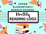 Book of the Month Reading Logs for Upper Elementary/Middle School