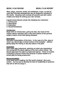 Book Report / Review - Writing Frame