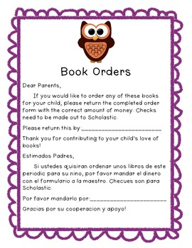 Book order parent note