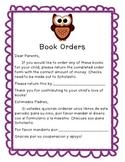 Book order parent note