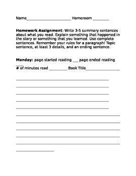Book report homework