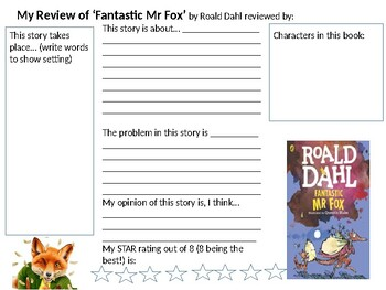 Book Review Template For Fantastic Mr Fox By Mlorenzen Resources