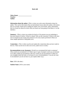 Book-talk handout and activity for ELA students