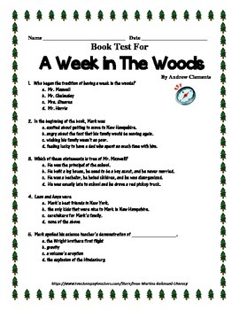 Book test and Key for A Week in The Woods by Andrew Clements