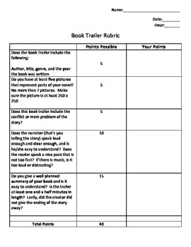 Book trailer (book report) directions with standards, rubric etc