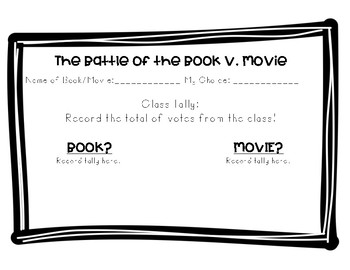 Book v. Movie Compare and Contrast Activity
