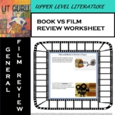 Book vs. Film Review worksheet (for ANY book/film!) - Movie Day!