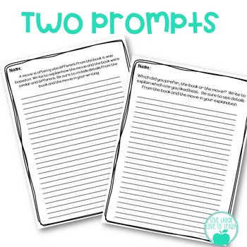 Book vs Movie Compare & Contrast - Graphic Organizer and Writing Prompt ~FREE~