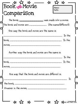 Book vs Movie Comparison Organizer and Essay Template * CCSS aligned