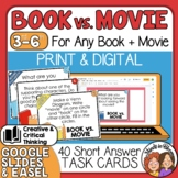 Book vs. Movie Question Cards Compare & Contrast Discussion and Writing Prompts