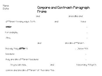 Book vs. Movie Venn Diagram and Paragraph Frames