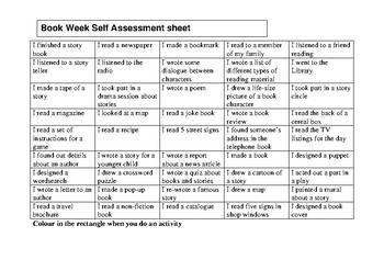 Book week self assessment chart