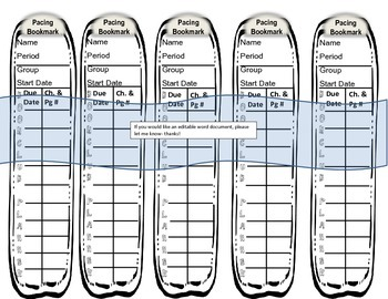 BookClub Bookmark Planner Pacing Guide