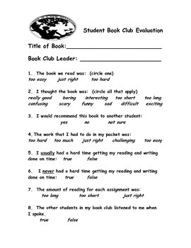 Bookclub Evaluations