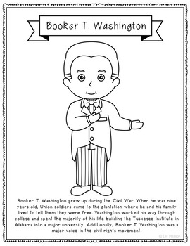 Booker T. Washington Biography Coloring Page Craft or Poster ...