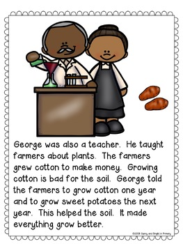 George Washington Carver Black History Month Student Booklet & Retelling Puppets
