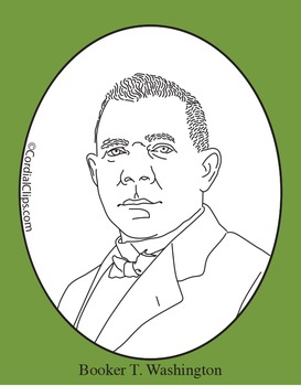 Booker T. Washington Clip Art, Coloring Page or Mini Poster