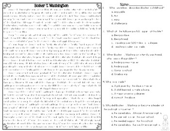 Booker T. Washington Differentiated Passages and Questions