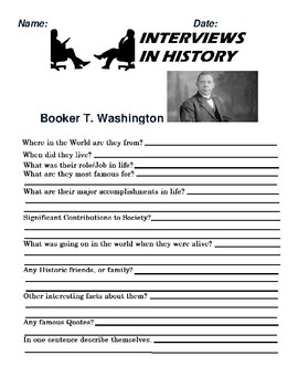 Booker T. Washington Research and interview Assignment