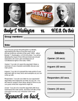 Booker T. Washington/W.E.B. DuBois Debate Project - Progressive Era Project