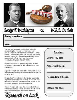 Booker T. Washington/W.E.B. DuBois Debate Project - Progressive Era Project