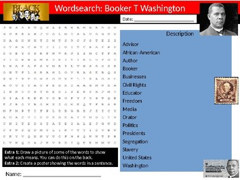 Booker T Washington Wordsearch Black History Month Keywords Settler Homework