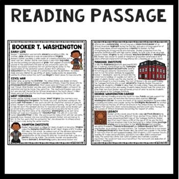 Booker T. Washington Reading Comprehension Worksheet Black History Month