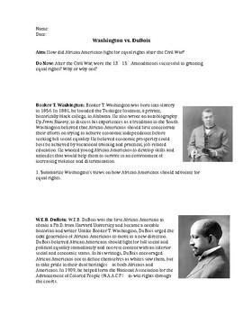 Booker T. Washington vs. WEB DuBois