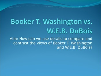 Booker T. Washington vs. W.E.B. DuBois PowerPoint