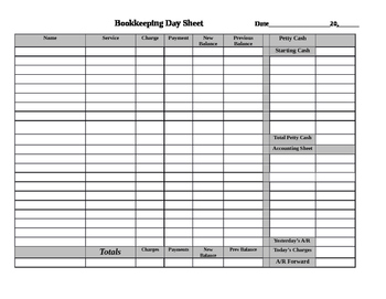 Bookkeeping Day Sheet