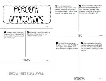 Booklet Percent Applications Taxes, Tips, Discounts TEK 6.5B