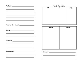 Booklet for Book Study and Word Finds (Guided Reading Activity)