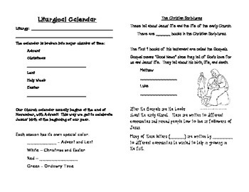 Booklet for Liturgical Calendar and Bible Basics