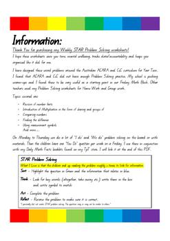 ACARA, Year 2 or 3, STAR Problem Solving Booklet of 40 Weeks