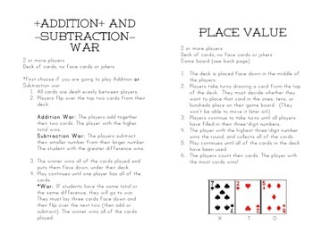 Student Book of Math Card Games