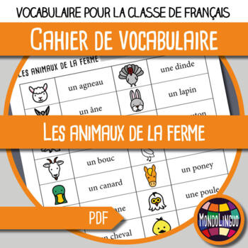 Booklet to teach vocabulary in French/FFL/FSL: Animaux ferme/Farm animals