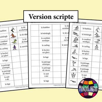 Booklet to teach vocabulary in French/FFL/FSL: Sports hiver/Winter sports