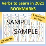 New Year's Bookmark: Verbs to Learn in 2021 for Advanced E