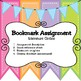Bookmark Assignment (for any literature circle novel)
