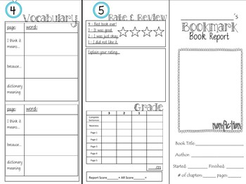 Bookmark Book Report Fiction and Nonfiction